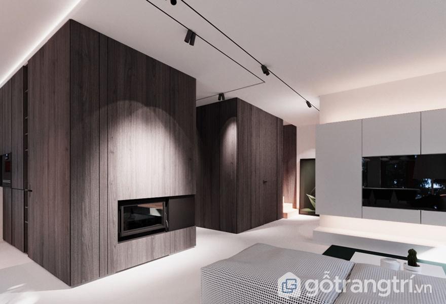 Ứng dụng nội thất gỗ veneer óc chó trong không gian phòng khách - ảnh internet