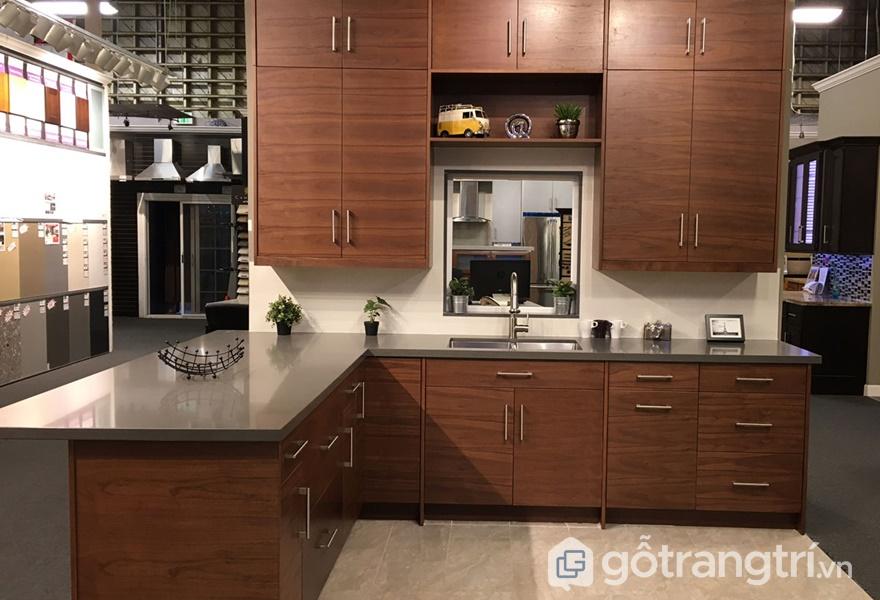 Ứng dụng nội thất gỗ veneer óc chó trong không gian phòng bếp - ảnh internet