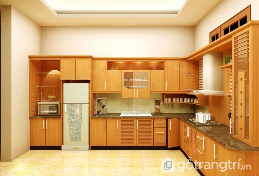 Nội thất gỗ veneer trong không gian bếp - ảnh internet