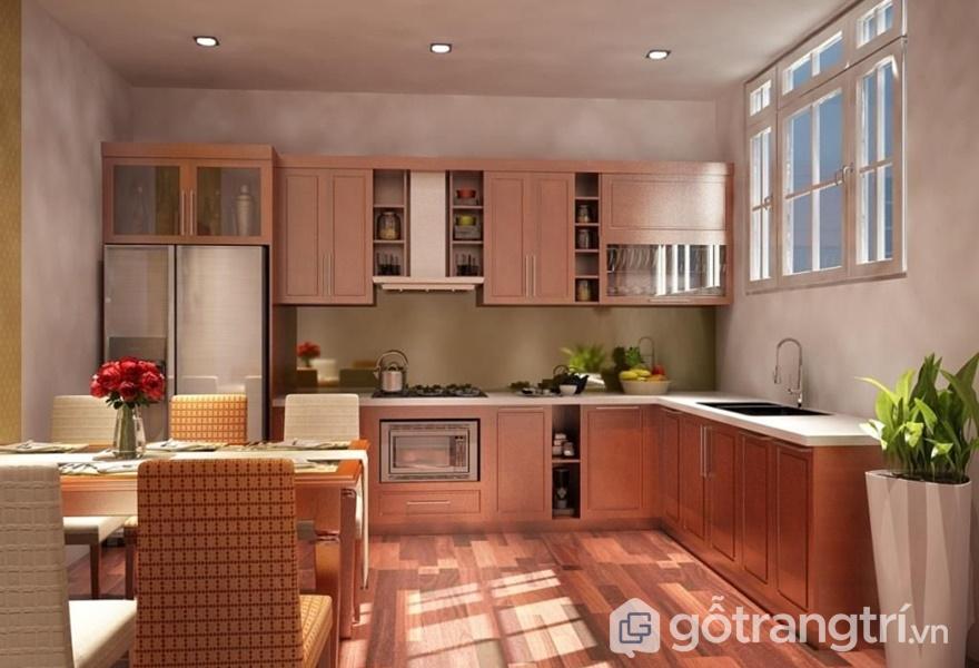 Tủ bếp bề mặt veneer xoan đào tự nhiên - ảnh inetrnet