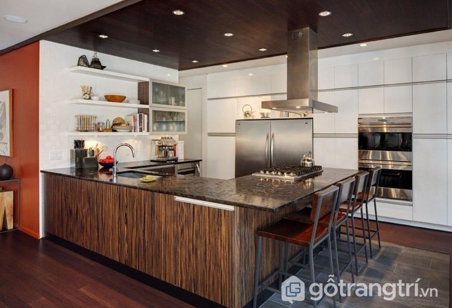 Tủ bếp bề mặt veneer nhân tạo - ảnh internet