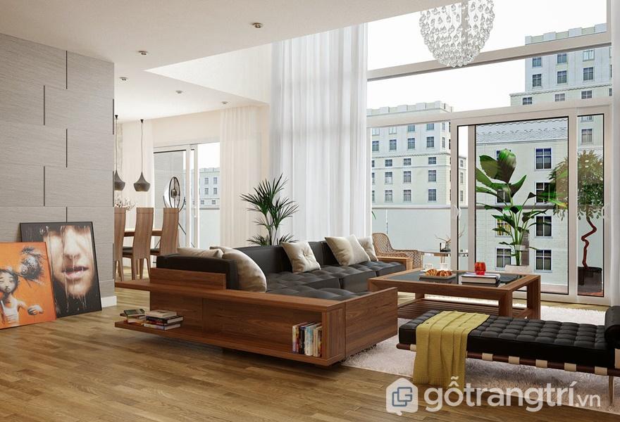 Nội thất gỗ veneer trong không gian phòng khách - ảnh internet