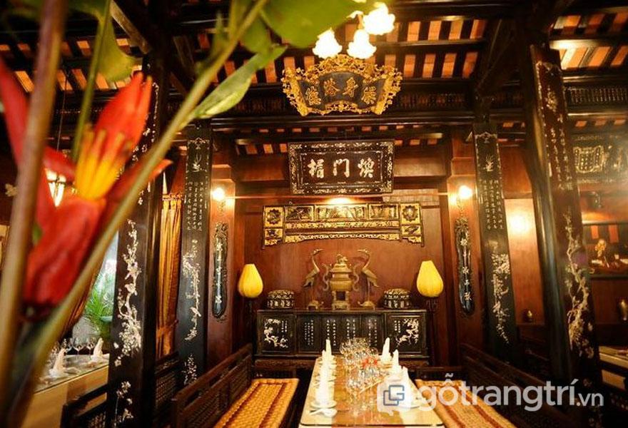 Nhà hàng Cơm Việt với không gian mở thiết kế khá đặc trưng của ngôi nhà truyền thống (Ảnh: Internet)