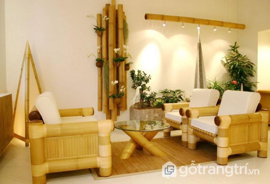 Phong cách eco trong nội thất của phòng khách này đều sử dụng vật liệu tre nứa (Ảnh: Internet)