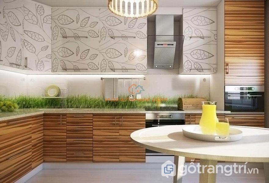 Phong cách eco trong nội thất của căn bếp luôn được bài trí trang nhã với sự xuất hiện của những cỏ cây, hoa lá xanh mát (Ảnh: Internet)