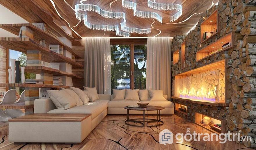 Phòng khác Eco trang trí từ chất liệu gỗ khá mới mẻ và cuốn hút (Ảnh: Internet)