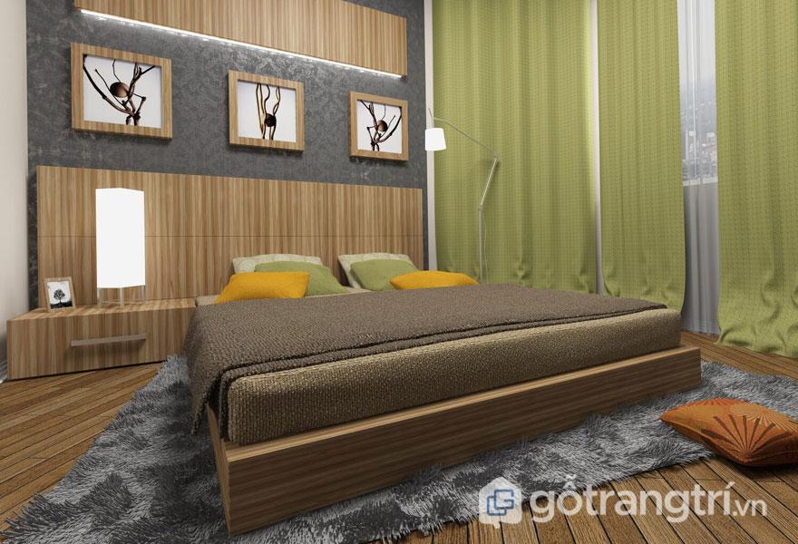 Phong cách eco trong nội thất cho phòng ngủ được bài trí nhã nhặn, tinh tế với dòng tranh treo tường đầy lôi cuốn, hấp dẫn (Ảnh: Internet)