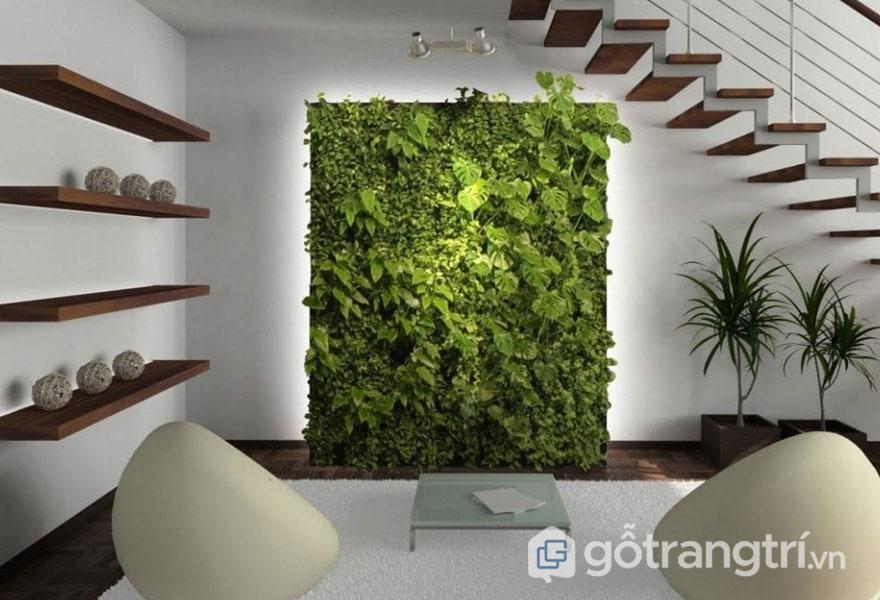 Việc đưa cây xanh vào trong phòng khách khiến không gian sống luôn tràn ngập sắc thái tự nhiên (Ảnh: Internet)