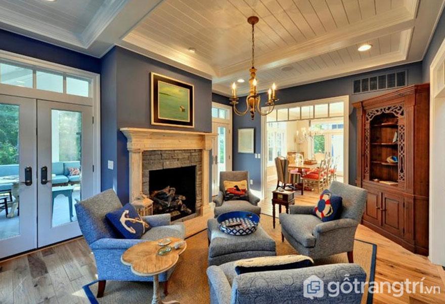 Màu xám xanh tôn lên sự quyến rũ của phòng khách (Ảnh: Internet)