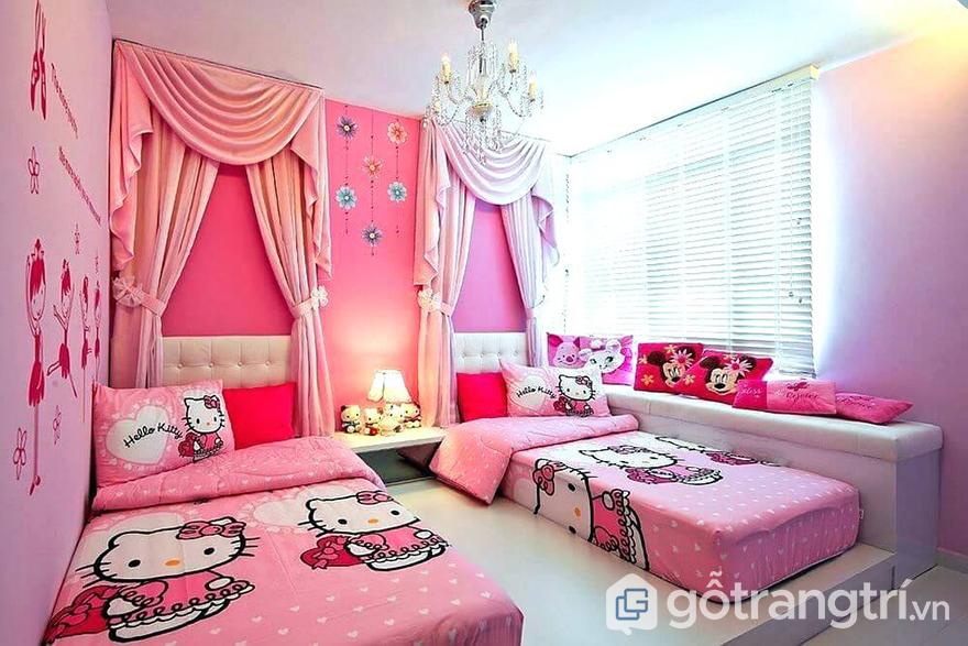 Phòng ngủ cho bé gái 10 tuổi dễ thương