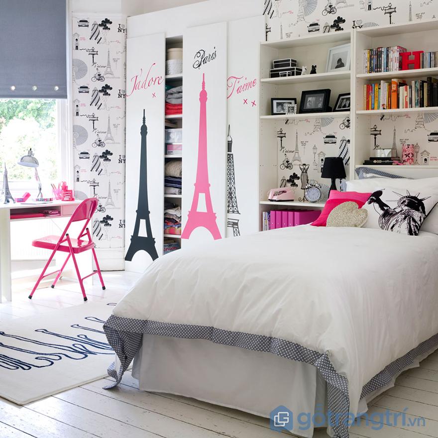 Trang trí phòng ngủ bé gái với giấy dán tường