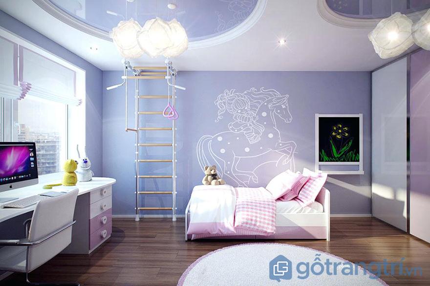 Trang trí phòng ngủ cho bé gái đèn