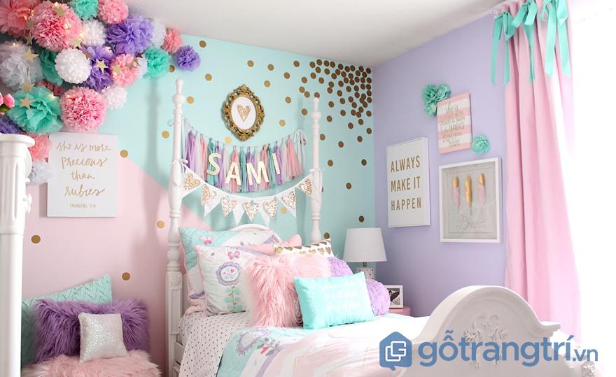 trang trí phòng ngủ bé gái lung linh
