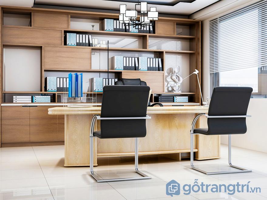 trang trí văn phòng bằng vật liệu gỗ