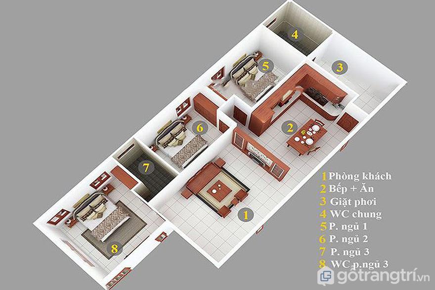 bản vẽ nhà cấp 4 3 phòng ngủ