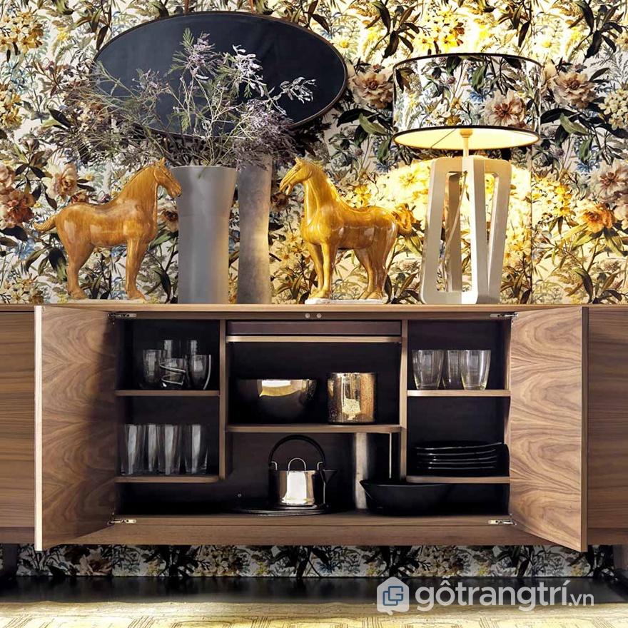 Tủ rượu gỗ công nghiệp phủ bề mặt veneer - ảnh internet