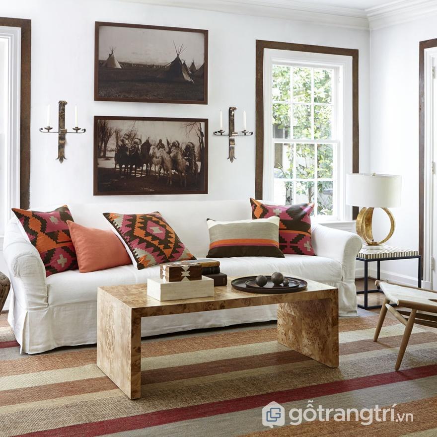 Ứng dụng bề mặt veneer trong thiết kế phòng khách - ảnh internet