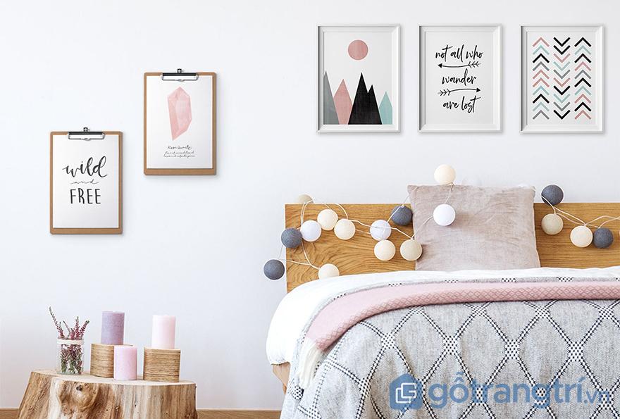 Trang trí đồ handmade cho giường phòng ngủ