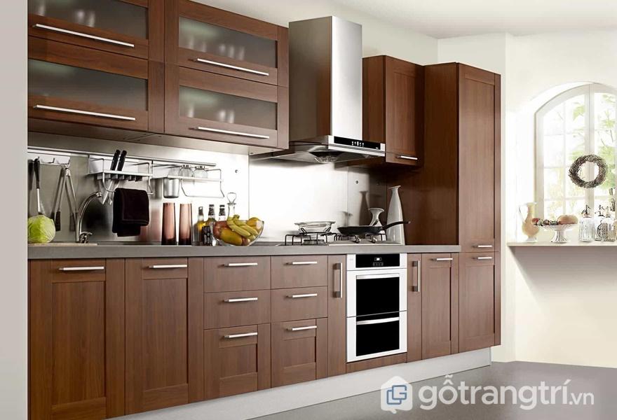 Tủ bếp gỗ dán veneer - ảnh internet