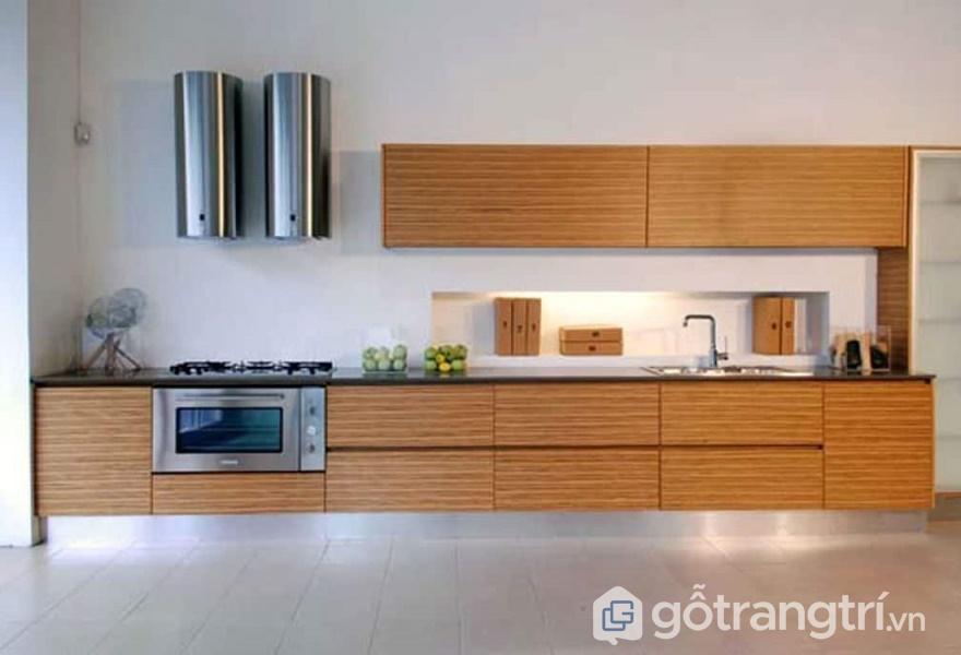 Ứng dụng gỗ dán veneer trong không gian bếp - ảnh internet