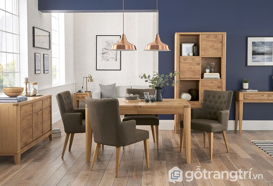 Bộ bàn ăn gỗ dán veneer - ảnh internet