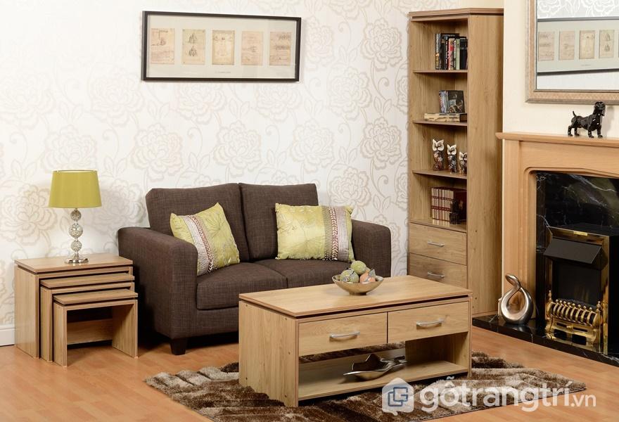 Bàn ghế phòng khách gỗ dán veneer - ảnh internet