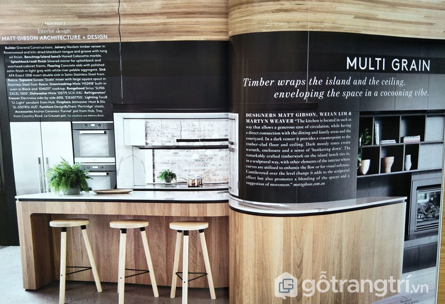 Không gian bếp hiện đại ứng dụng gỗ ép veneer - ảnh internet