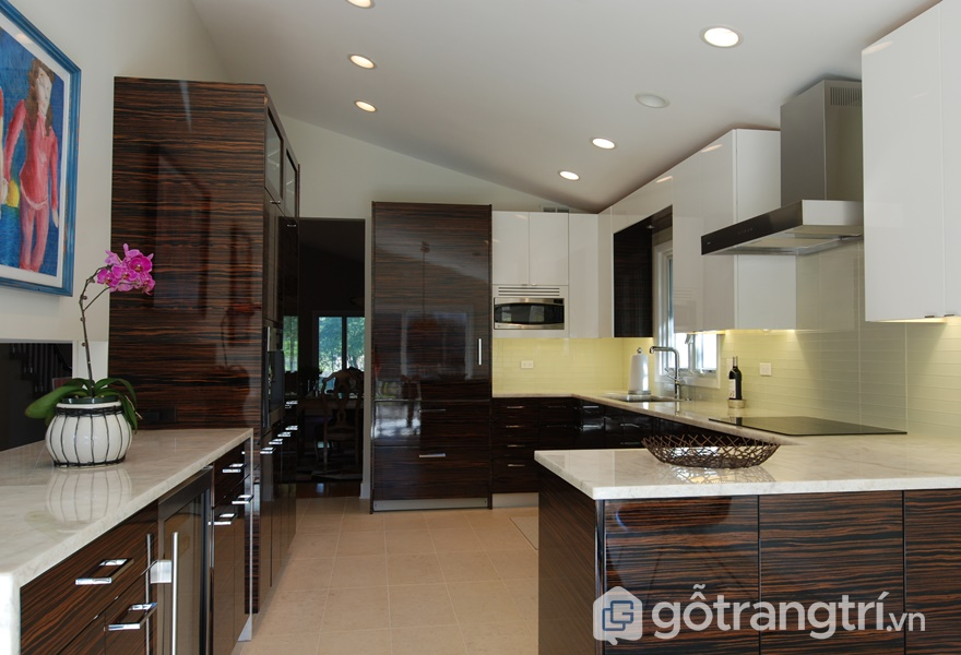 Ứng dụng gỗ veneer trong thiết kế căn bếp - ảnh internet