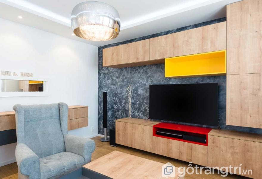 Gỗ veneer sồi trong thiết kế và trang trí phòng khách - ảnh internet