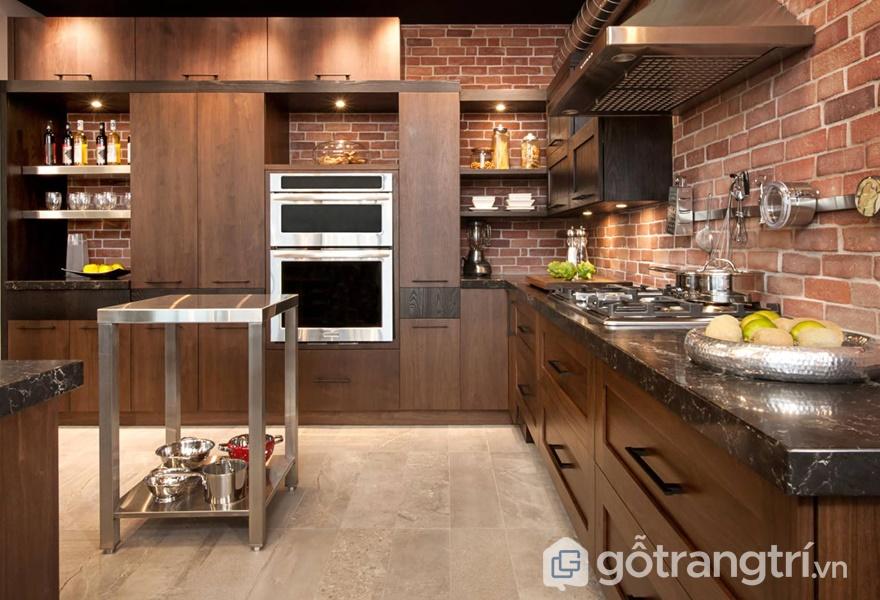 Tủ bếp gỗ veneer - ảnh internet