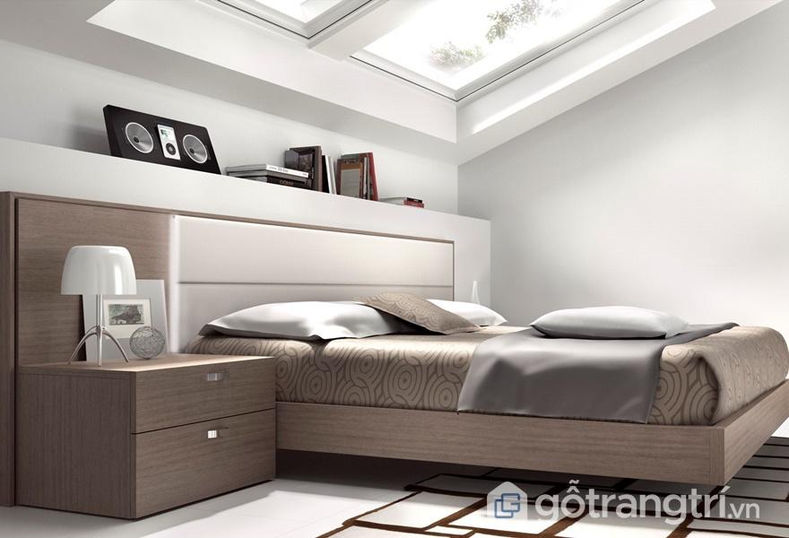 Giường ngủ gỗ veneer - ảnh internet