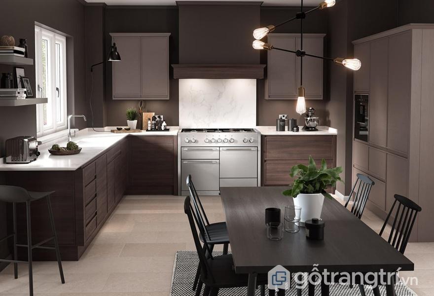 Tủ bếp gỗ acrylic đẹp - ảnh internetv
