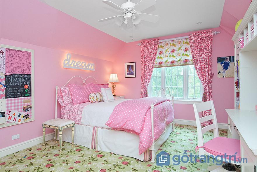 Sơn phòng ngủ màu hồng ấn tượng
