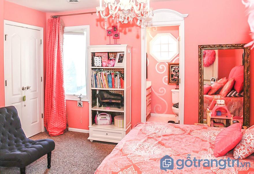 sơn phòng ngủ màu hồng sinh động