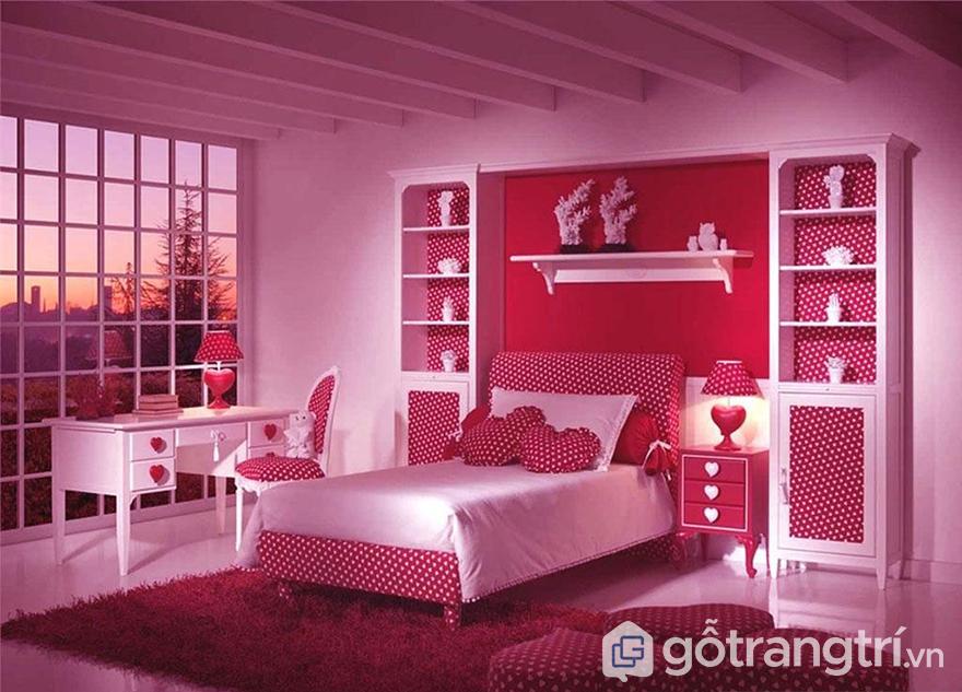 Sơn phòng ngủ màu hồng lãng mạn