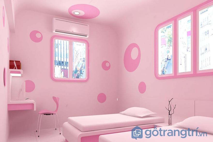 sơn màu hồng chủ đạo cho phòng ngủ