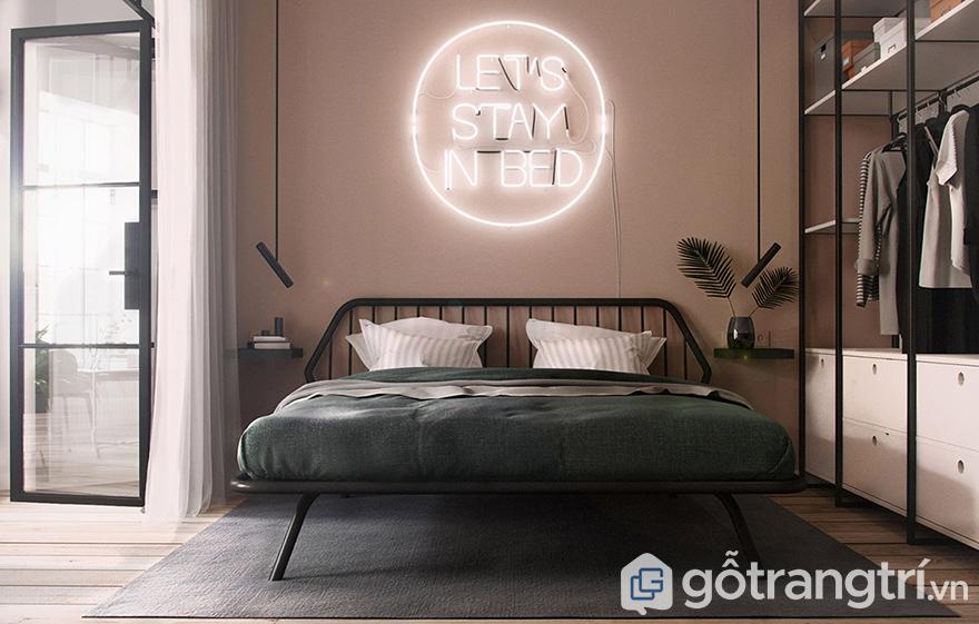 trang trí tường phòng ngủ với đèn dây