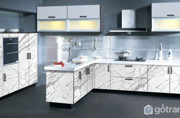 tủ bếp gỗ acrylic