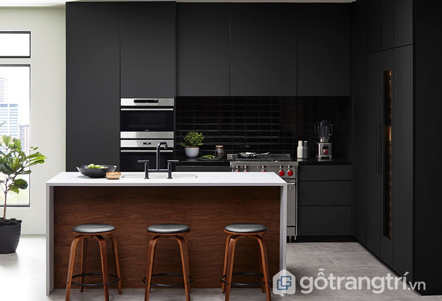 Tủ bếp gỗ acrylic đơn sắc - ảnh internet
