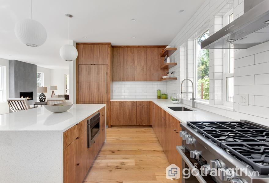 Tủ bếp gỗ acrylic vân gỗ - ảnh internet