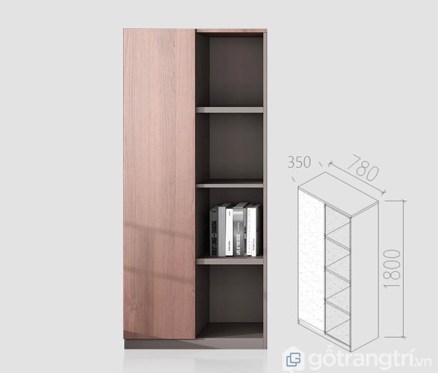 Chi tiết về kích thước tủ A trong bộ đựng tài liệu văn phòng gỗ công nghiệp đẹp GHS-5687