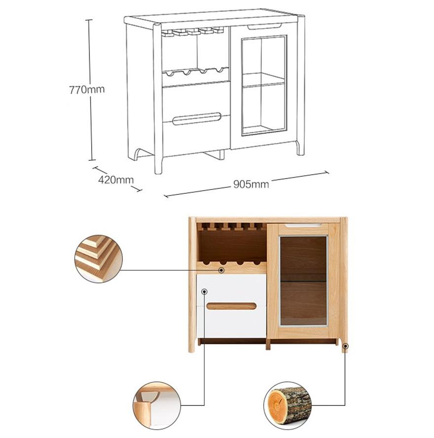 Chi tiết kích thước của tủ đựng rượu gỗ sồi tự nhiên thiết kế hiện đại GHS-5705