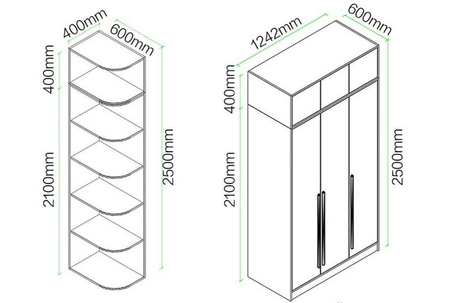 Kích thước của tủ quần áo gia đình đẹp hiện đại kèm giá để đồ GHS-5699