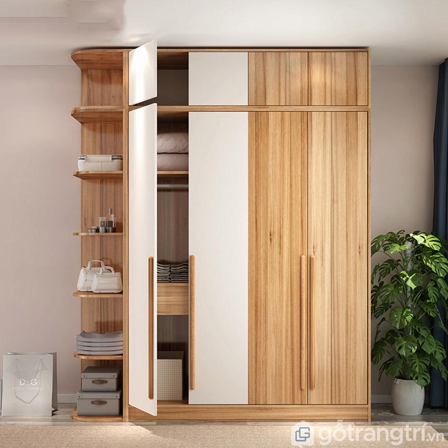 Tủ quần áo gia đình đẹp hiện đại kèm giá để đồ GHS-5699