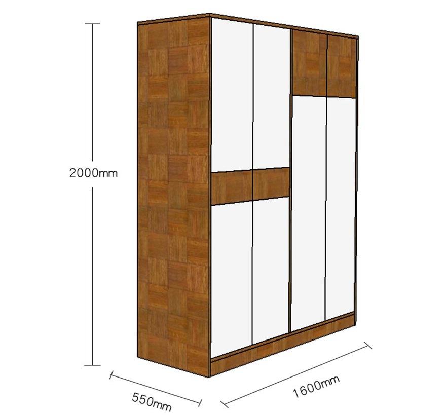 Chi tiết kích thước của tủ quần áo gia đình thiết kế đa năng đủ tiện nghi GHS-5696
