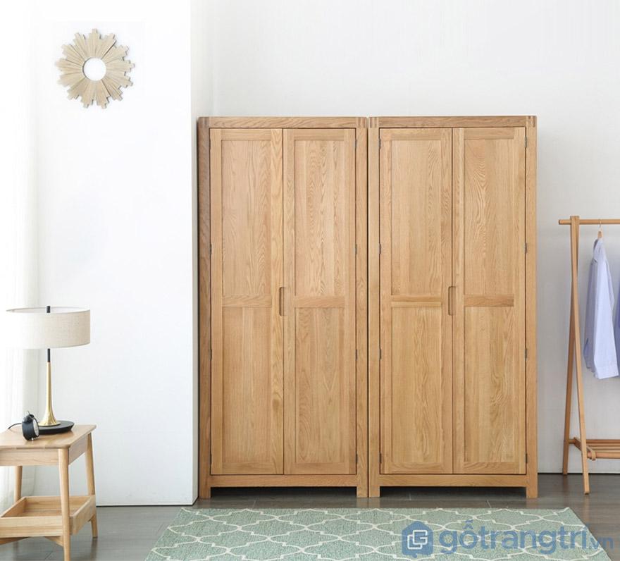 Tủ quần áo gỗ sồi thiết kế nhỏ gọn tiện dụng GHS-5690