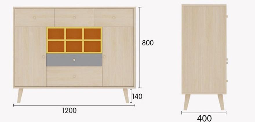 Chi tiết kích thước của tủ rượu gỗ công nghiệp nhỏ gọn tiện lợi GHS-5700