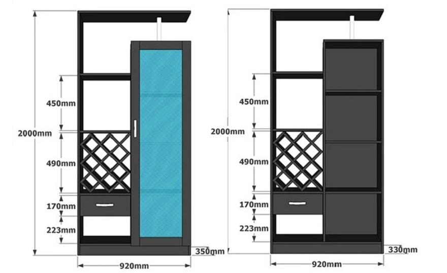 Chi tiết kích thước của tủ rượu phòng khách gia đình gỗ công nghiệp GHS-5701