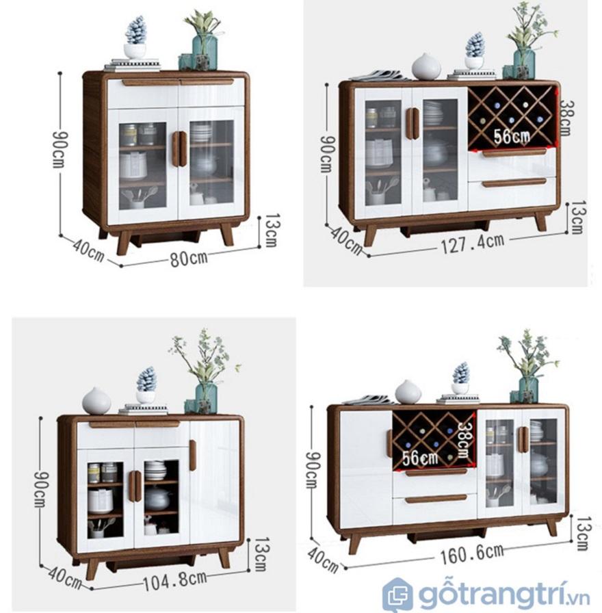 Chi tiết kích thước của tủ rượu phòng khách gỗ công nghiệp đẹp hiện đại GHS-5704