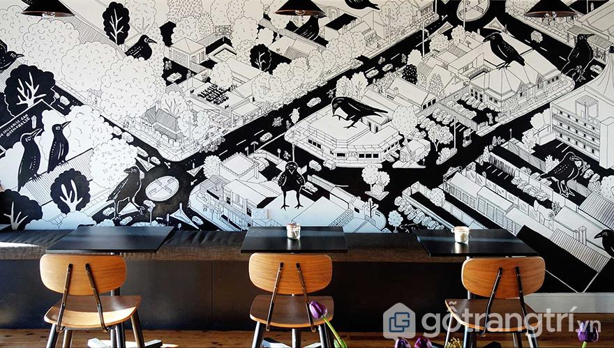 vẽ tường quán cà phê